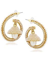 Meenaz Gold & White Brass Jhumki Earing For Women