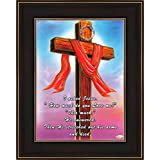 Avercart Jesus Christ / Cross / I Asked Jesus How Much Do You Love Me / Christian Poster 5x7 Inch With Photo Frame (13x18 Cm Framed)