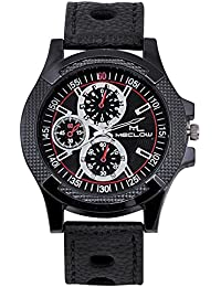 Latest Design Black Leather Belt Watch, Round Black Dial Analog Watch For Men's/Boys Classic Fashionable Watch...