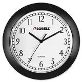 Lorell - Wall Clock 9 Arabic Numerals White Dial/Black Frame Sold As 1 Each LLR 60987