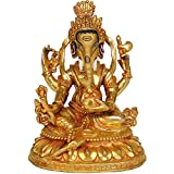 Exotic India Lord Ganesha Holding A Radish - Copper Statue Gilded With 24 Karat Gold