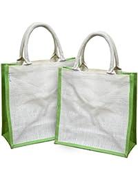 Earthbags Women's Jute Bag White Olive (EB32WhiteOlive)