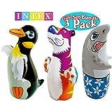 Intex 3D Bop Bag Blow Up Inflatable Penguin, Shark & Tiger Gift Set Bundle - 3 Pack