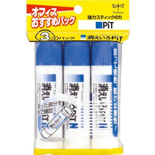 トンボ鉛筆 スティックのり 消えいろピットN HCA-322 3個パック