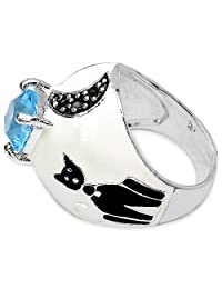 8.50 Grams Blue Cubic Zirconia & Marcasite Rhodium Plated Brass Ring With White & Black Enamel