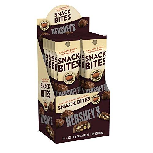 Hershey's Snack Bites Milk Chocolate And Almonds Clusters 2.5 Oz Bag (10 Ct Box)