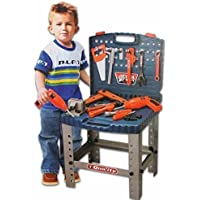 Dlittles Kids 69 Piece Toy Tool Kit Play Set Portable Folding Work Bench Workshop With Drill