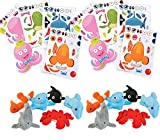 24 Mini Ocean Plush Assortment (6 different), and 24 Make-Ocean-Animal/Fish Sticker Sheets (Bundle of 2), Total 48 pieces