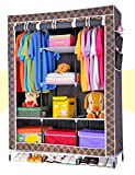 Everything Imported 4.1 Feet Folding Storage Rack Collapsible Cabinet- Brown/Black