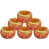 AsiaCraft Red & Gold Beaded Napkin Rings - Set Of 6 Rings
