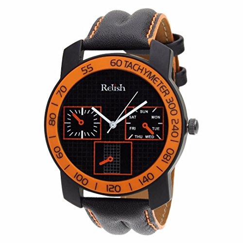 Relish-568 Stylish Orange & Black Case Analog Watches For Mens & Boys