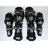 Leebo Axo Motorcycle Racing Riding Knee & Elbow Guard Pads Protector Gear Black (Black Pack Of 4) For Royal Enfield...