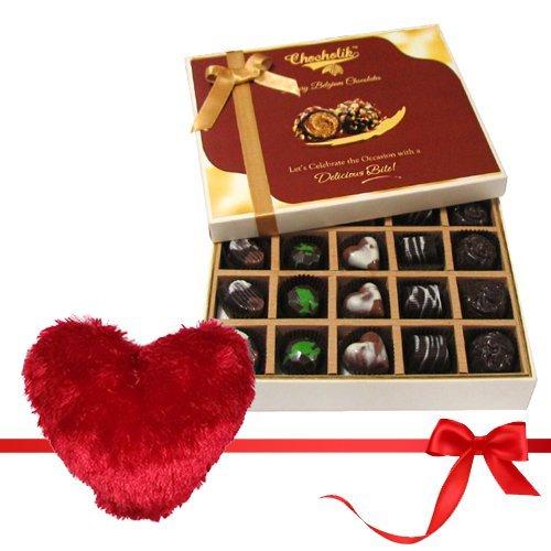 Valentine Chocholik's Belgium Chocolates - Equinoxe Dulcey Treat Of Dark And Milk Chocolate Box With Heart Pillow