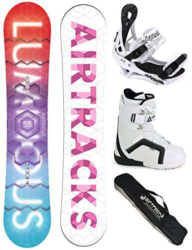 AIRTRACKS DAMEN SNOWBOARD KOMPLETT SET / LUMINOUS LADY SNOWBOARD + BINDUNG SAVAGE W + BOOTS + SB BAG / 140 145 150 155 / cm