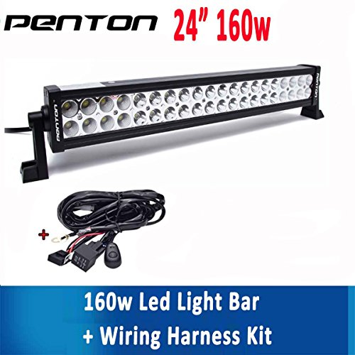 Penton® 160w 24 Inch LED Driving Work Light Bar DC 10-30V Input Flood Spot Combo Beam for 4wd SUV UTE Offroad Truck ATV UTV with Wiring Harness