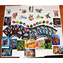 Marvel Avengers Superhero Party Favors Deluxe Set of 48 with Movie Trading Cards, Tattoos, Thumbwrestlers and Prismatic Stickers