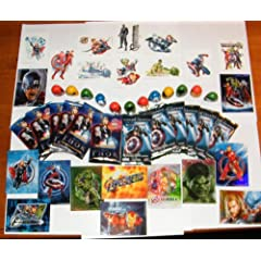 Marvel Avengers Superhero Party Favors Deluxe Set of 48 with Movie Trading Cards Tattoos Thumbwrestlers and Prismatic Stickers