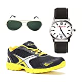 Elligator Stylish Black & Yellow Sport Shoes & Watch With Spartiate Sunglass For Men's - B014FH7DBW