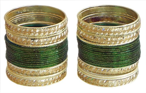 Two Sets Of Glitter Dark Green With Golden Bangles - Metal