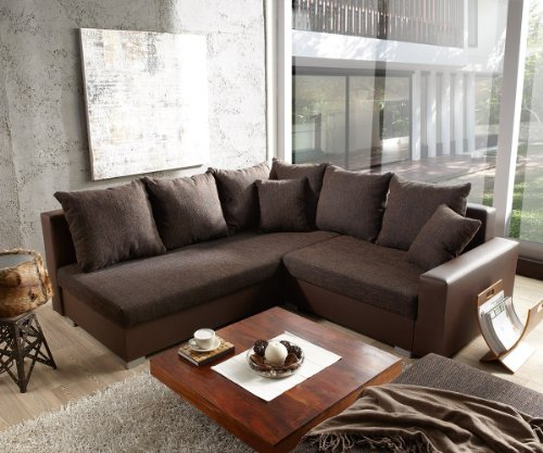 Couch Lavello 210x210 Dunkelbraun Ecksofa Ottomane links mit Hocker