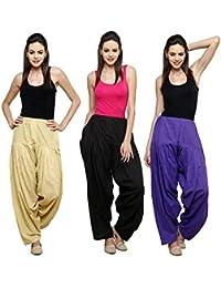 Fashion Store Women's Cotton Patiala Salwar Combo (Black,Royal Blue & Beige & Free Si