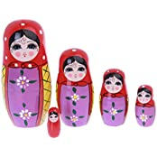 Flada Cute Wooden Nesting Stacking Dolls Russian Matryoshka Kids Toys Christmas Gift A Set Of 5 Pieces