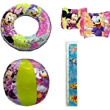 "4-piece Minnie Mouse Pool Toy Swim Set: Disney Minnie Mouse Cartoon Characters Beach Ball (16""), Min"