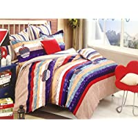 GLORY MULTI COLOUR STRIPED PRINT DOUBLE BEDSHEET WITH PILLOW COVERS, 100% COTTON APPLE PRINT BEDSHEET
