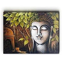 Nish! 'Religious & Spiritual' Collection | Gutama Buddha Art On Wood | Wooden Wall Decor Hanging Painting Wooden...
