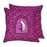 House This Darbaar-Peacock Purple Set Of 2 Cushion Covers- 16 X 16