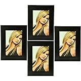 Brasso Glass Photo Frame (19 Cm X 14 Cm X 5 Cm, Black, Set Of 4, PF-613)