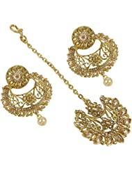 Gorgeous Bollywood Design Gold Plated Crystal Made Earring With Maang Tikka For Women