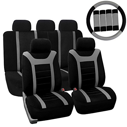 FH-FB070115 Complete Set Sports Fabric Car Seat Covers, Airbag compatible and Split Bench with Steering Wheel Cover, Seat Belt Pads Gray- Fit Most Car, Truck, Suv, or Van