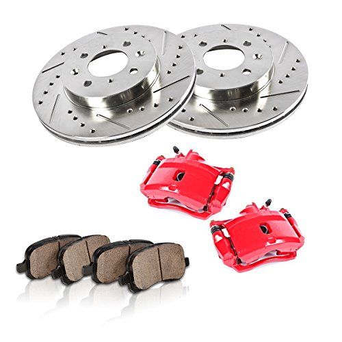 Callahan FRONT Red [2] Calipers + [2] Rotors + Quiet Low Dust [4] Ceramic Pads Performance Kit – Remanufactured