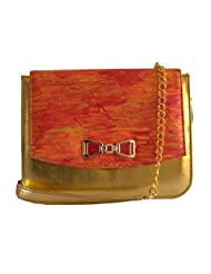 Demure DM 19 Hand Painted Sling Bag (Red Orange Gold)