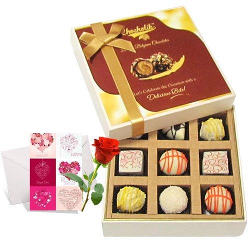 Enjoyable White Chocolates With Love Card And Rose - Chocholik Luxury Chocolates