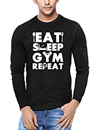 WYO.in Men's Cotton Full Sleeve T-Shirt With Graphic Printed Gym Repeats