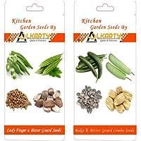 Alkarty Lady Finger,Bitter Gourd,Ridge Gourd And Bottle Gourd Seed Pack Of 20