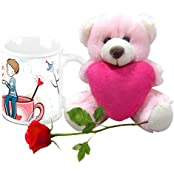 Valentine Gifts HomeSoGood Cup Of Coffee On Valentine's Day White Ceramic Coffee Mug With Teddy & Red Rose - 325 Ml