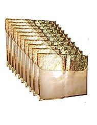 AJ Creations Golden Colour Flip Design Saree Sari Cover Bag For 1 Saree PACK OF 10