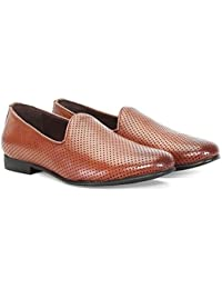 Bareskin Perforated Men Tan Genuine Leather Slipon Shoe /Hand Made Leather Shoes/Hand Painted Leather Shoe/Extra...