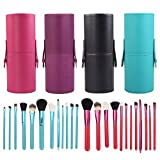 Docooler 12pcs Professional Makeup Brush Set Cosmetic Brush Kit Makeup Tool With Cup Leather Holder Case (Rose...