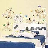 Cute Lil Pups With Balls Kids Room Wall Sticker
