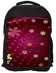 Snoogg Cute Flower Graphic Backpack Rucksack School Travel Unisex Casual Canvas Bag Bookbag Satchel