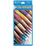 Col Erase Colored Woodcase Pencils W/ Eraser, 12 Assorted Colors/Set By Col Erase