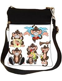 Snoogg Monkey Vectors Cross Body Tote Bag / Shoulder Sling Carry Bag