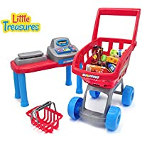 Little Treasures Mini Toddler Size Supermarket Play Set Realistic Pretend Play Of Grocery Shopping Spree For Kids
