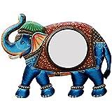 Divraya Wood Elephant Wall Mirror (60.96 Cm X 4 Cm X 45.72 Cm, DA118)