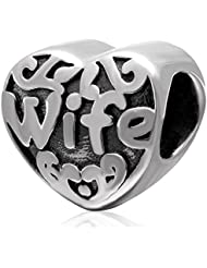 Ollia Jewelry Antique Sterling Silver Beads My Dearest Wife Charm Sweet Heart Love Charm Family Love Charms Fit...