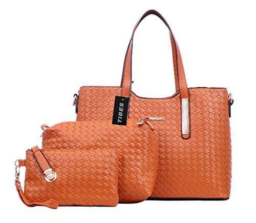 Tibes mode pu cuir sac à main + sac à bandoulière + sac 3pcs sac Orange